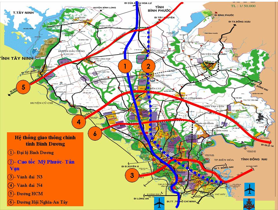 Bản đồ quy hoạch giao thông tỉnh Bình Dương