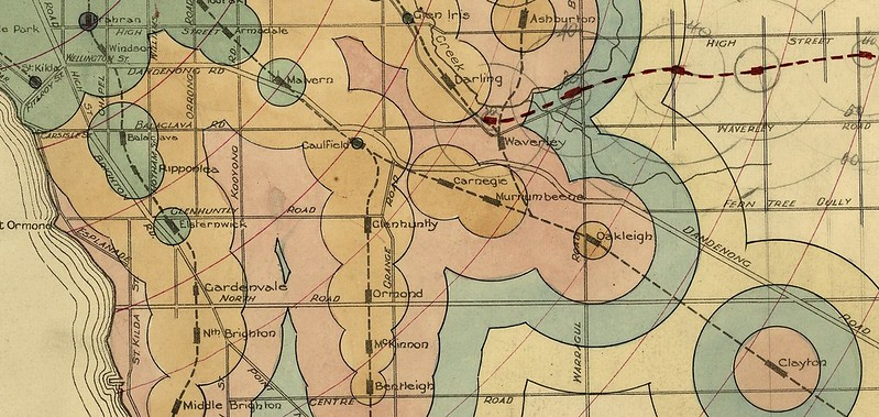 How long to the city? Metropolitan Town Planning Commission map circa 1925: Caulfield area