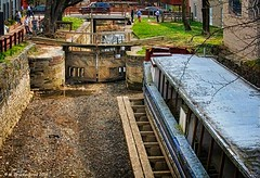 An 1800's Canal Boat and Lock Gates on the C&O Canal In Georgetown