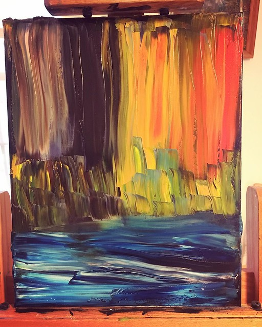 bob ross painting quickly shit the bed. Turned into an #abstract instead. Voilà. #Art.