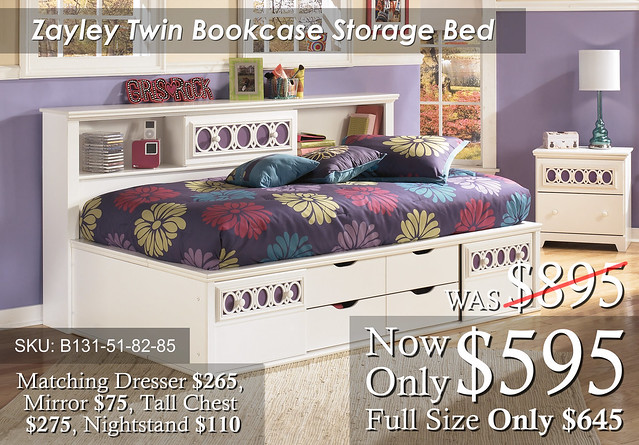 Zaley Bookcase Storage Bed