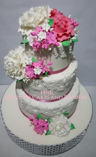 White and Pink Floral Wedding Cake by Harlyn Catbagan of HnR House of Cakes and Pastries