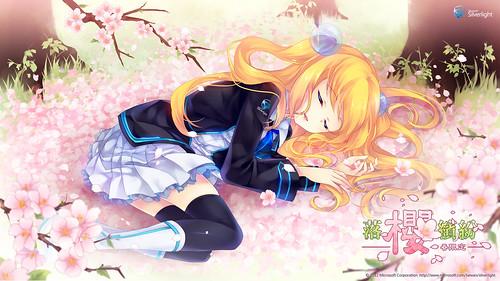 120423 - 台灣Silverlight看板娘「藍澤光」的【落櫻繽紛、春限定】壁紙公開中!