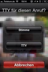 TTY für diesen Anruf (Teletype beim Apple iPhone)