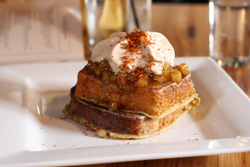 Spiced Brioche French Toast, Glazed Klug Farm Apples, Whipped Maple Syrup, Brown Butter Crumble