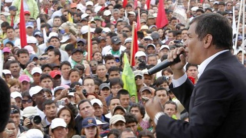 Ecuadorean President Rafael Correa speaking to the masses in this South American state. Correa says that he will not attend the Summit of the Americas due to the exclusion of Cuba. by Pan-African News Wire File Photos