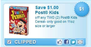 Post Kids Cereals Coupon
