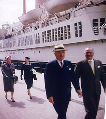 Photograph of Former President Harry S. Truman, Bess Truman, Mrs. Sam Rosenman at Naples, ca. 06/1958