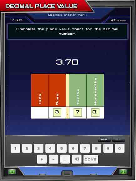 Grade 4 Math App - decimal value