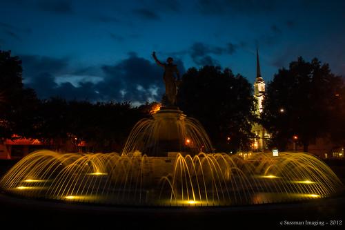 longexposure light water fountain statue week18 georgia evening twilight lafayettesquare lagrange troupcounty thesussman themelights 52of2012 520f2012 sussmanimaging