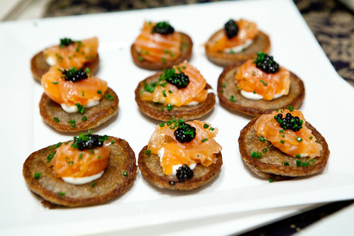 Buckwheat blini with smoked salmon and Pacific Plaza caviar by JBF Award winner Gary Danko of Gary Danko, San Francisco