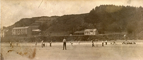 Cricket on the beach. Unidentified location