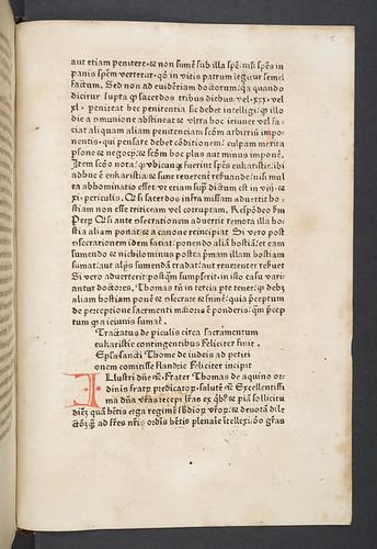 Rubricated initial in Thomas Aquinas [pseudo-]: De periculis contingentibus circa sacramentum eucharistiae