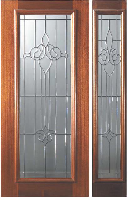 Decorative Full Glass Entry Doors : Arlington decorative glass full lite mahogany entry door