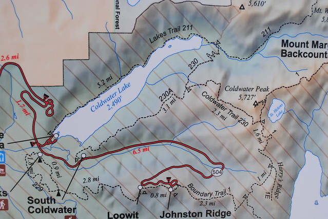 Map of Coldwater Lake and Johnston Ridge