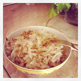 Ужин: дайкон с грибами