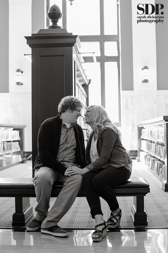 Kansas City downtown library engagement session