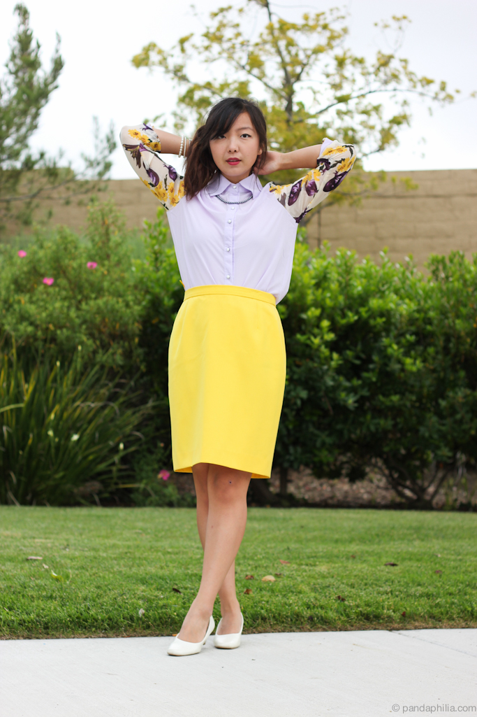 lilac top yellow skirt