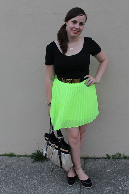 Day-Glo outfit: neon chartreuse pleated mini skirt from Urban Outfitters, Patent leather Jeffrey Campbell flatforms, vintage Moschino belt, Double-scoop ballet tee, etc.