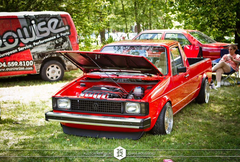 red mk1 vw caddy with vr6 at southern worthersee 2012