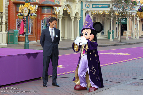 Mickey joins EuroDisney SCA President & CEO Phillipe Gas for the opening ceremony