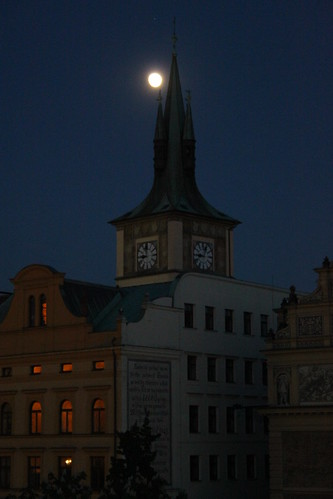 Moon rise over Bedrich Smetana Museum, Prague