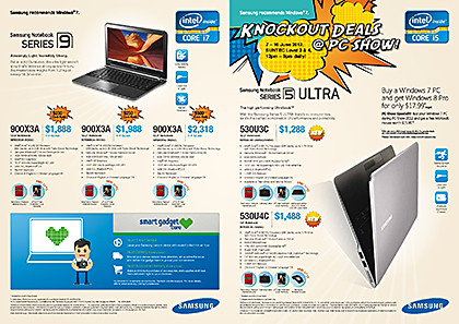 Samsung's PC Show 2012 promotions for notebooks, ultrabooks, digital cameras, monitors, Smart TVs, and printers.