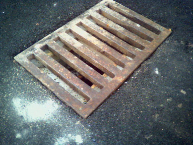 Close-up of new Columbia/Center grate