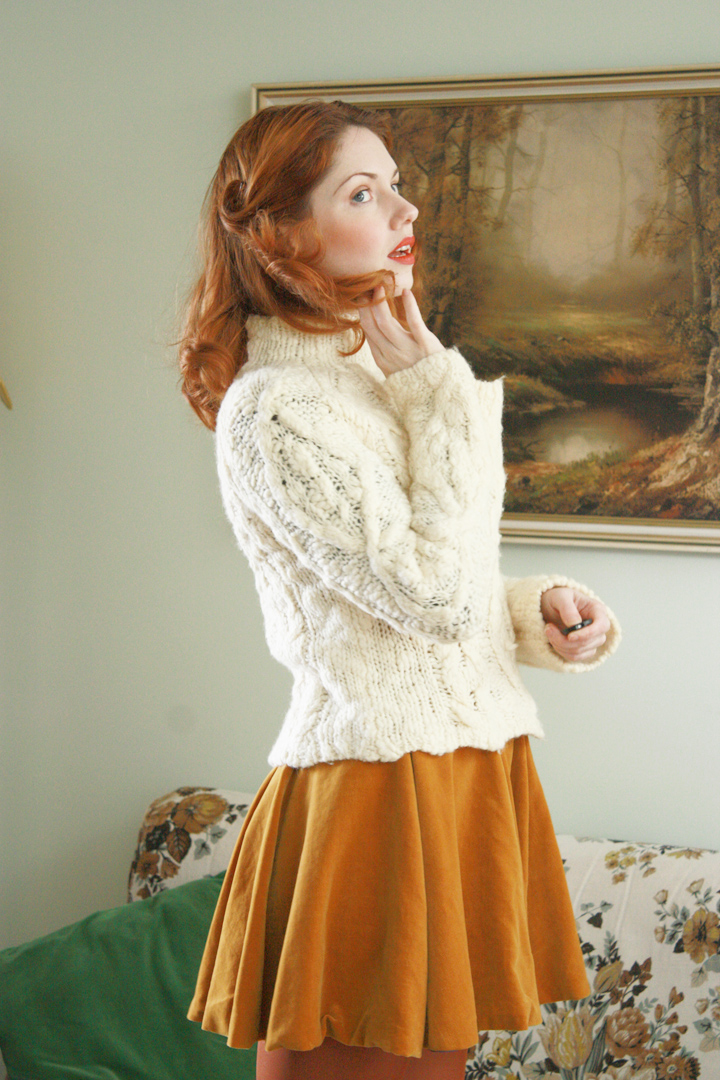 mustard velvet vintage and jumper f