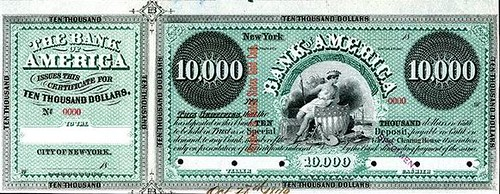 Bank of America, 1879 Specimen $10,000 Clearing House Certificate