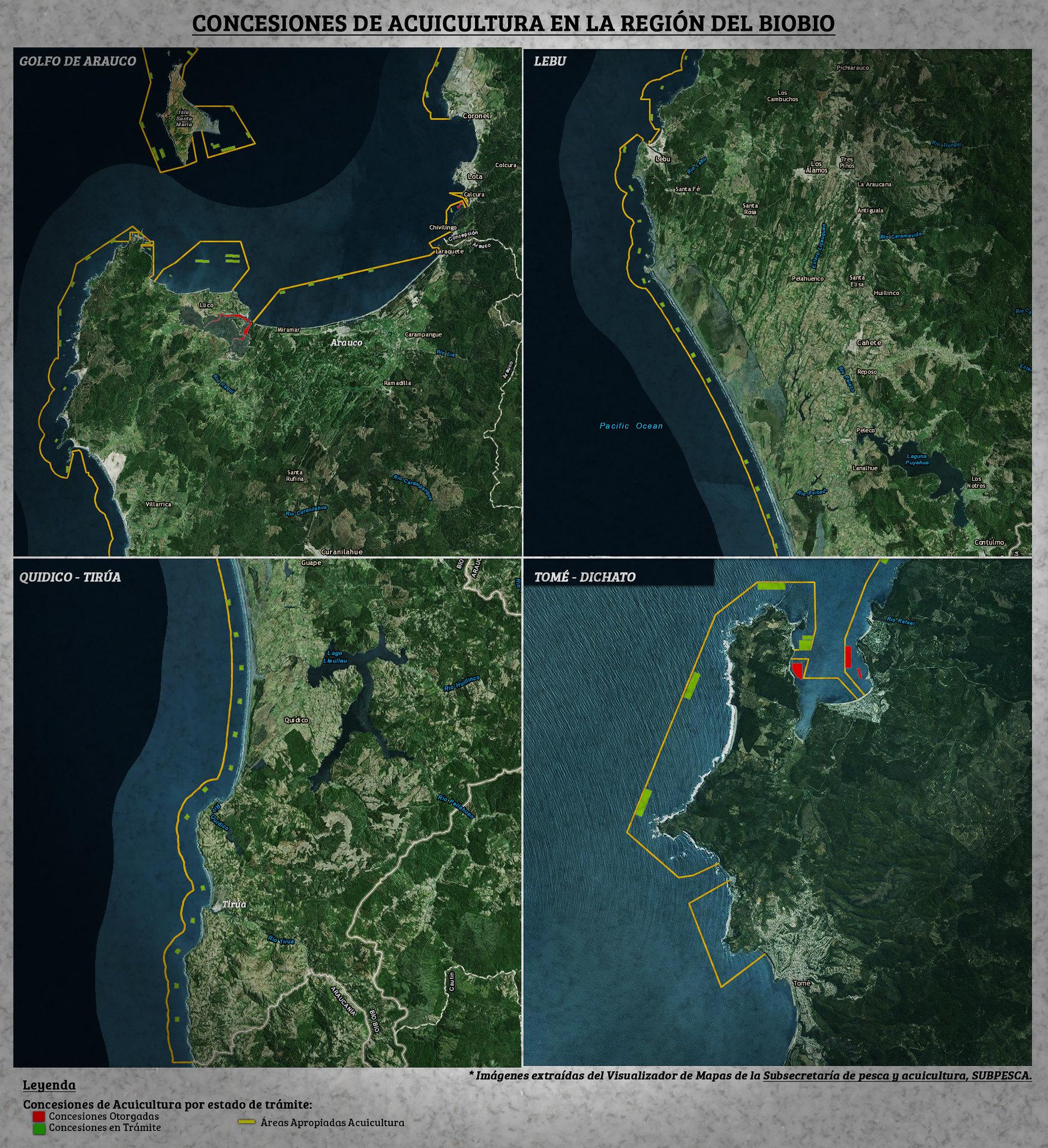 Concesiones acuicultura en la costa de la región del Biobio