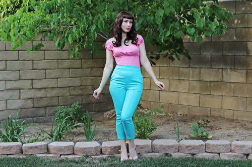 Pinup Girl Clothing Pinup Couture Peasant Top in Baby Pink Laura Byrnes California High Waisted Cropped Trousers in Blue Twill