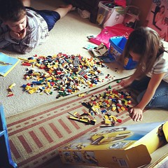 #whatimdoingrightnow Watching Merika and my nephew, Hunter, do the Lego thing while I nurse the wee one. Legos are great #homeschool tools! They teach children how to follow directions and encourage them to use their imaginations!
