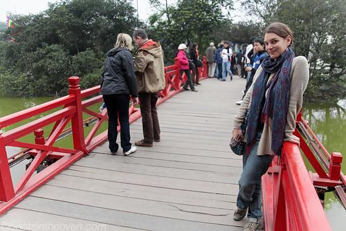 Rachel on Thê Húc bridge