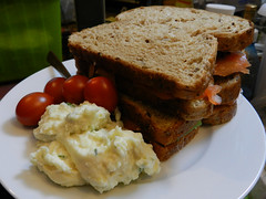 Salmon sambos with mashed potato salad