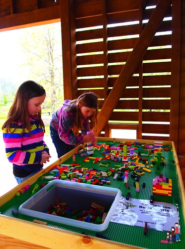 Creating art with Legos at Reiman Gardens in Ames, Iowa