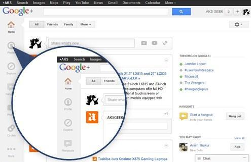 Google+ new layout