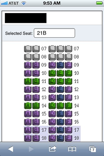 AA Mobile Website Seat Map