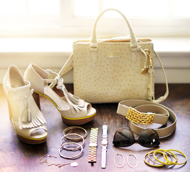 nude and yellow accessories and  jewelry