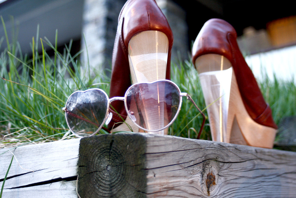 chloe wedge peeptoe shoe half lucite heel, aldo heart shaped aviator sunglasses sunnies