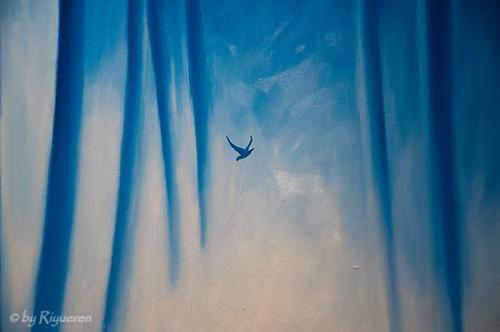 """Ernesto Morales:""""Golondrinas en el bosque"""" 2012 olio su tela 100x150 (particolare)"""
