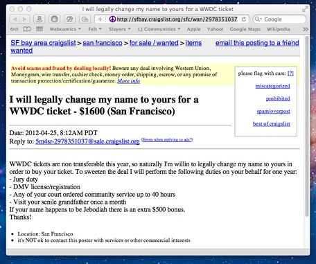 """Man offers to """"change my name to yours"""" and $1600 for a"""