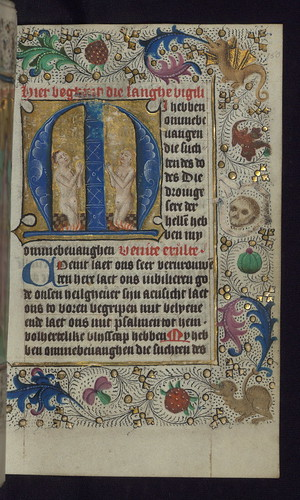 Illuminated Manuscript, Book of Hours in Dutch, Initial M with two souls praying in purgatory, Walters Manuscript W.918, fol. 150r by Walters Art Museum Illuminated Manuscripts
