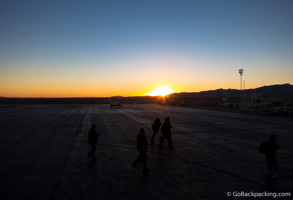 My first sunset over the Atacama Desert, as seen from the tarmac at El Loa Airport in Calama