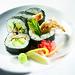 Fried soft shell crab, sliced avocado, sliced cucumber.