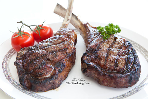 Huge, delicious tomahawk steaks