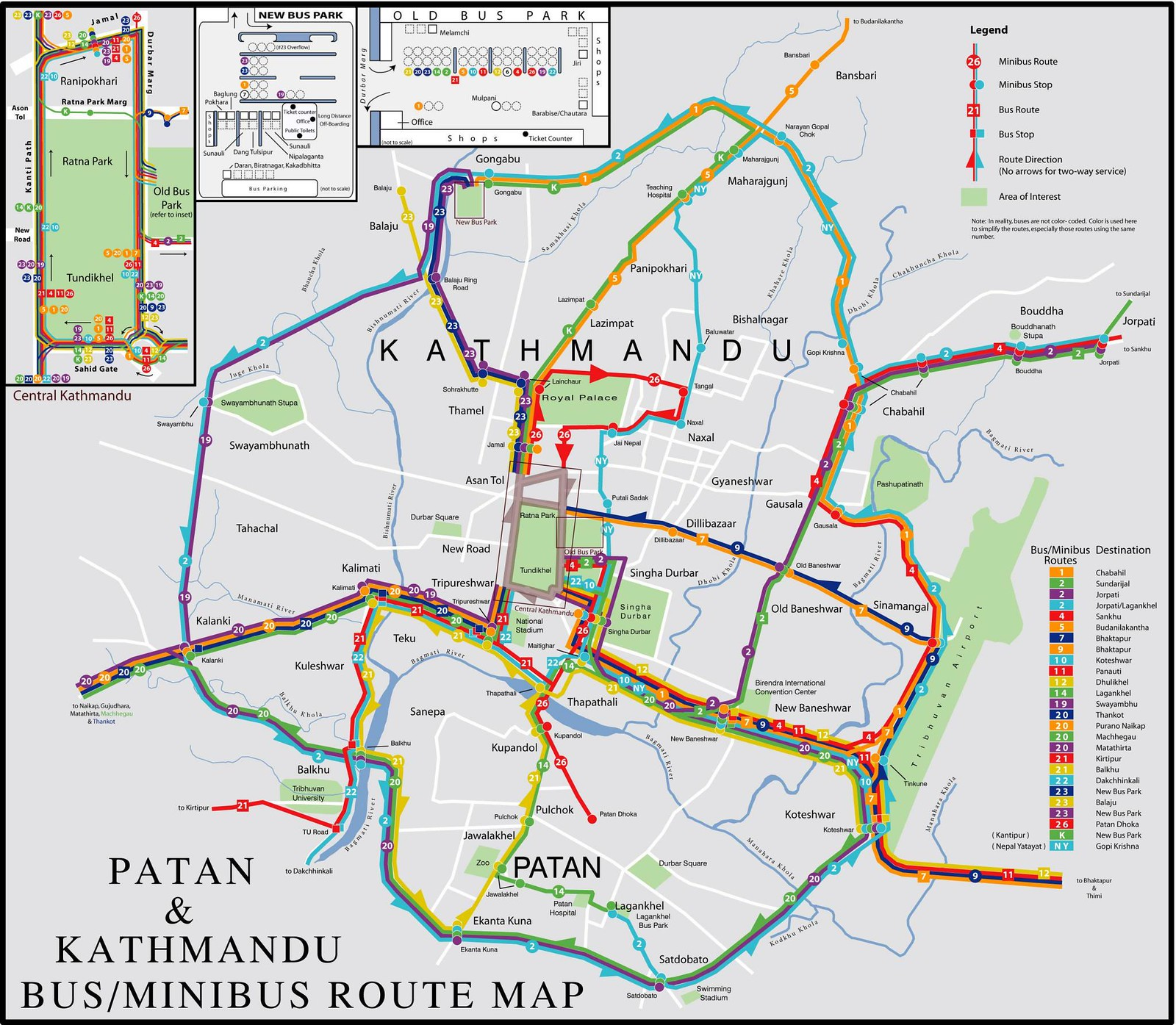 Mapa de autocarros de Kathmandu e Patan, Nepal