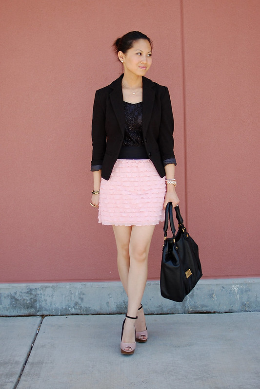 pink ruffle skirt express sequin black blazer
