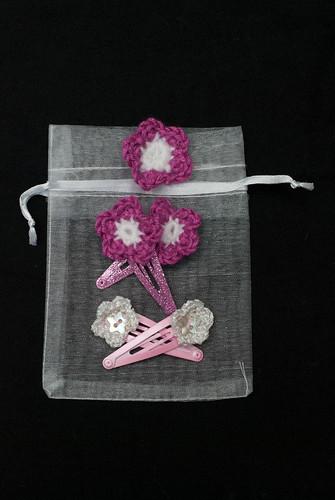 Flower adorned hair slides