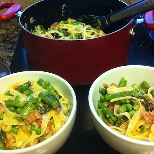 Fettuccine with Pancetta, Asparagus, & Peas #wfd